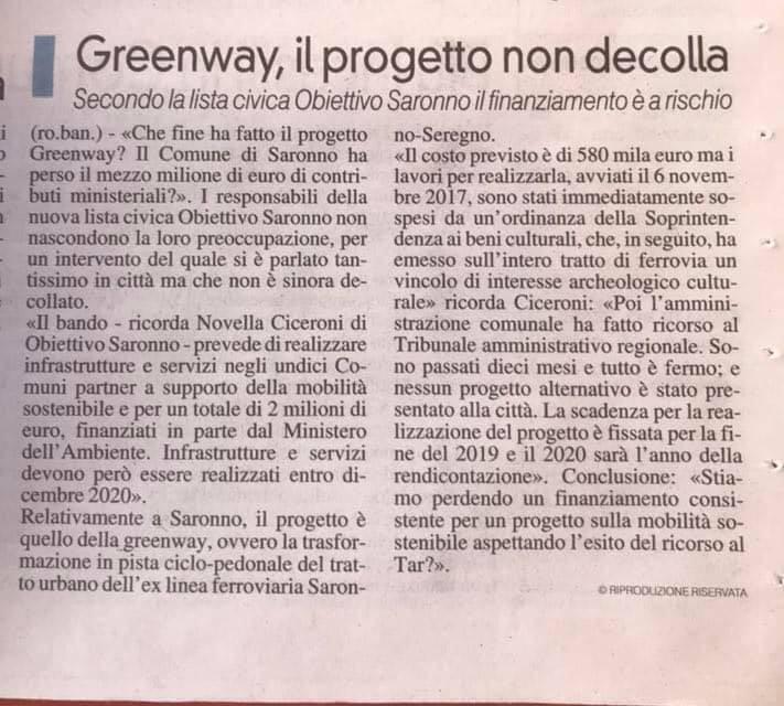 @La Prealpina__GREENWAY, IL PROGETTO NON DECOLLA