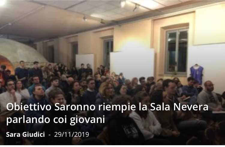 @Il Saronno__Obiettivo Saronno riempie la Sala Nevera parlando coi giovani