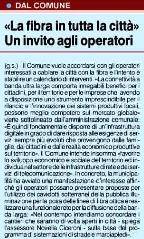 """Novella Ciceroni """"Entro due anni Saronno sarà cablata con fibra ottica FTTH"""""""